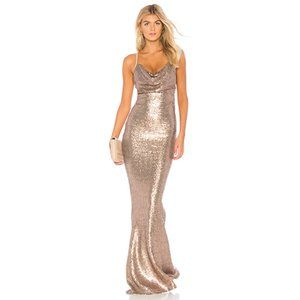 NEW Nookie Seduce Sequin Cowl Gown in Bronze Small
